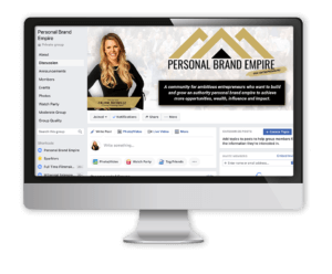 Personal Brand Empire FB group Preview on computer monitor